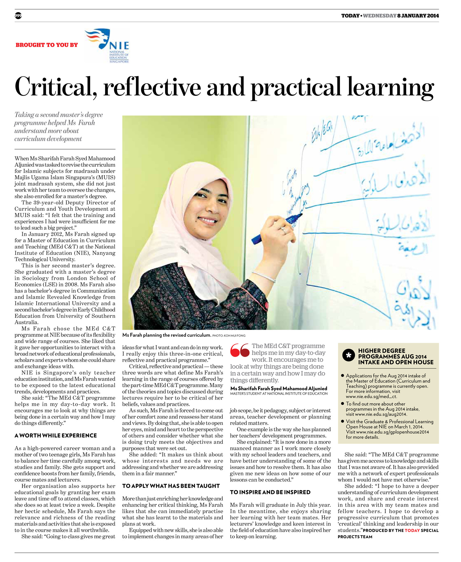 Critical, Reflective and Practical Learning