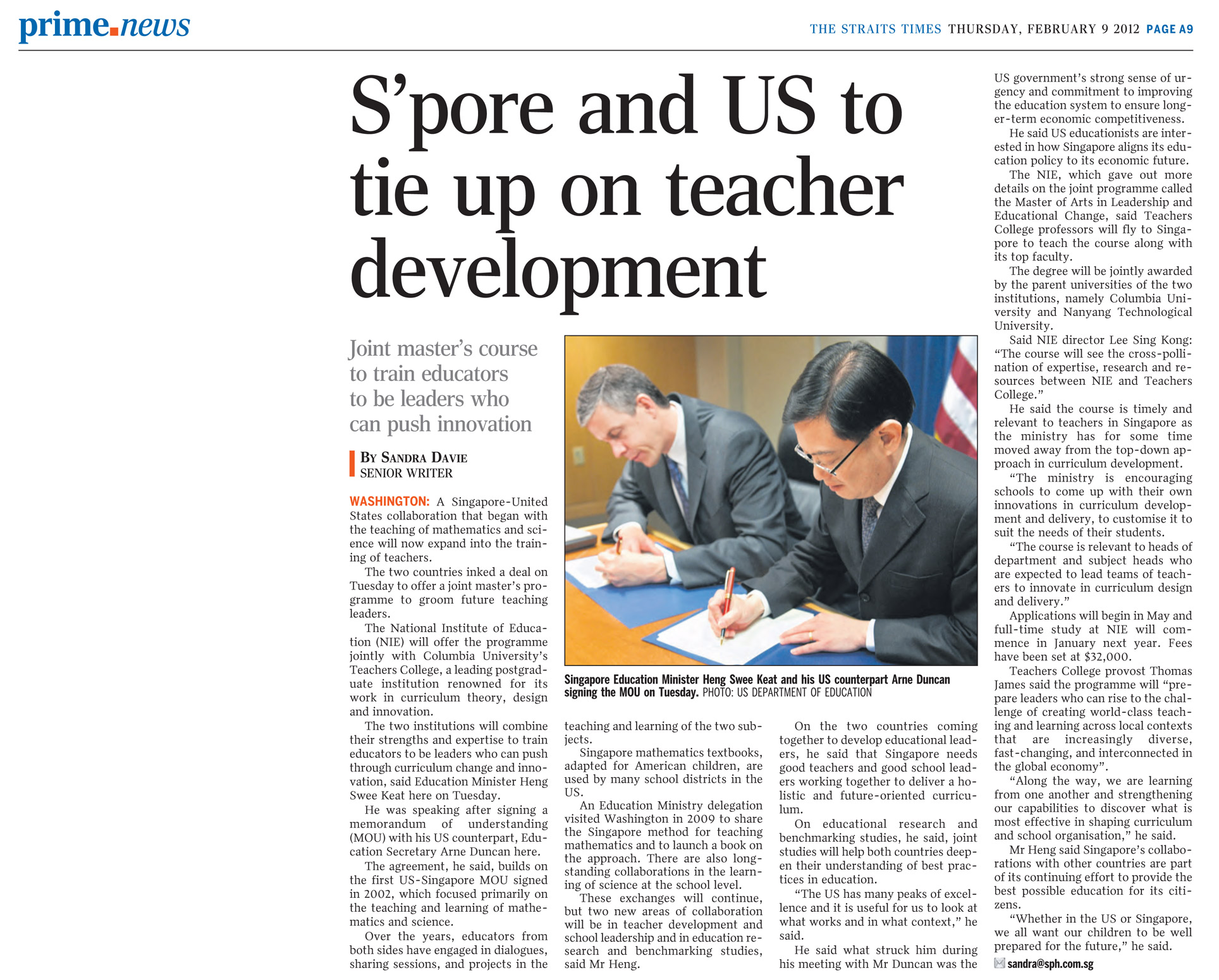 S'pore and US to Tie Up on Teacher Development