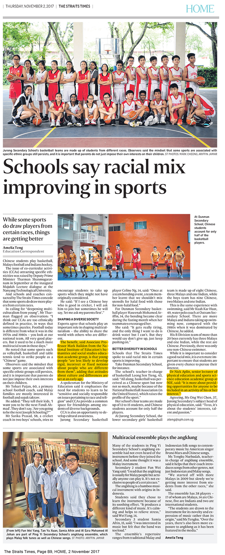 ST-2 Nov 2017_Pg B9, HOME_racial mix improving in sports (740px)